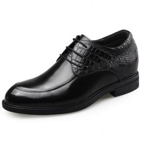 Premium Leather Elevator Shoes for Men Increase 2.6inch / 6.5cm Glossy Upper Formal Shoes