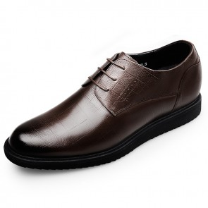 Hidden Lifts Tuxedo Shoes for men Height 2.4inch / 6cm Brown Classic Men Dress Oxford Shoes