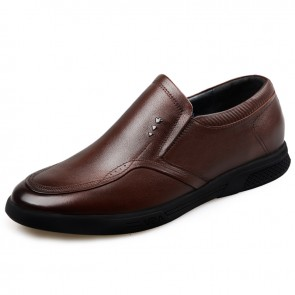 Comfortable Slip On Elevator Shoes Height 2.2inch / 5.5cm Brown Genuine Leather Driving Shoes