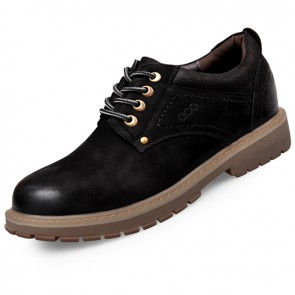 Spacious Toe Elevator Work Shoes for men Nubuck Leather taller casual shoes