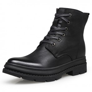 Elevator Combat Boots Woolen Height 7cm / 2.8inch Men Taller Military Shoes Side Zip Army Boot