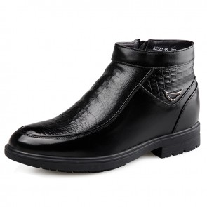 Side Zip Elevator Dress Boots for Men Taller 6.5cm / 2.56inch Croc Print Woolen Chukka Boot