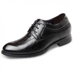 Cowhide Elevated Formal Shoes taller men shoes embossed hidden lift dress shoes