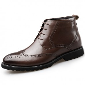 Brown Brogue Elevator Dress Boot for Men Tall 2.6inch / 6.5cm Wing Tip Formal Ankle Boots