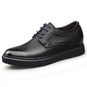 Premium Brogue Elevator Shoes for Men Height 2.6cm / 6.5cm Wing Tip Business Casual Shoes Increase
