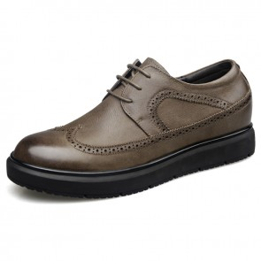 Comfort Elevated Brogue Shoes for Men Taller 2.6inch / 6.5cm Wingtip Lace Up Casual Oxfords