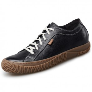 Retro Elevator Casual Shoes for Men Taller 2.6inch / 6.5cm Black Soft Cowhide Grain Leather Shoes