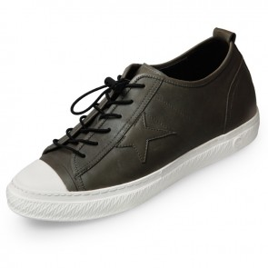Retro Elevator Casual Shoes 2.4inch / 6cm Dark Gay Cap Toe Height Increasing Shoes