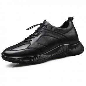 Black Cowhide Elevator Sneakers for Men Taller 2.6inch / 6.5cm Classic Casual Sports Shoes