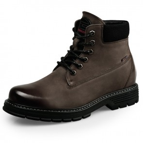 Khaki Hidden Lift Men Combat Boots Tall 2.8inch / 7cm Spacious Toe Cowhide Elevator Tactical Boots
