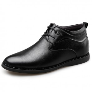 Height Increasing Plain Toe Shoes for Men Tall 2.4inch / 6cm Woolen Lining Elevator Tuxedo Shoes