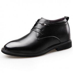 Black Taller Plain Toe Tuxedo Shoes Height 2.6inch / 6.5cm Hidden Lift Groom Wedding Shoes