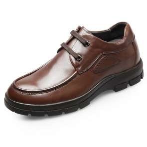 Quality height elevated business casual shoes 2.6inch / 6.5cm Brown