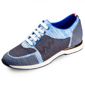 Blue flyknit sneakers make you taller 6cm / 2.36inch men sports shoes