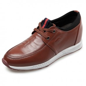 Comfort extra height casual shoes 3.2inch / 8cm brown leather lace up campus shoes