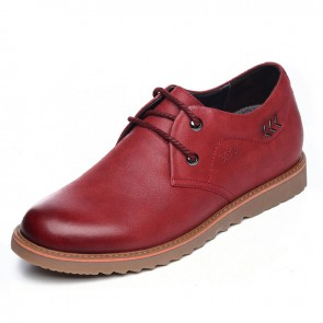 UK spacious toe taller shoes 6.5cm / 2.56inch red suede leather lace up casual shoes