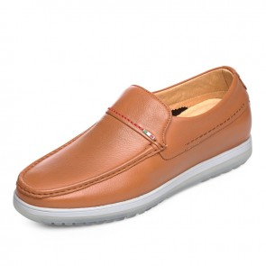 Comfortable height increasing doug shoes gain tall 6cm / 2.36inch yellow slip on driving shoes