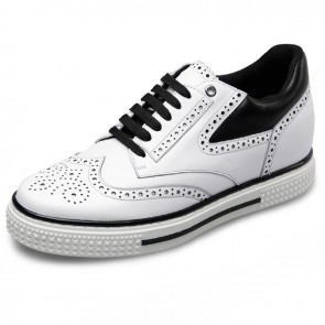 Elevator Brogue casual shoes taller 2.6inch / 6.5cm white wing tip skate shoes