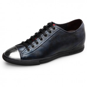 Novelty elevator Iron cap toe shoes increase taller 6cm / 2.4inch lace up casual shoes