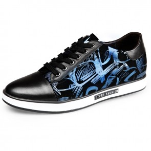 Blue Printing Elevator Skateboarding Shoes 6cm / 2.4inch Lace Up Taller Sneakers