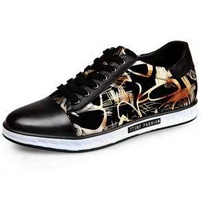 2017 Gold Printing Height Skateboarding Shoes 6cm / 2.4inch Lace Up Elevated Sneakers