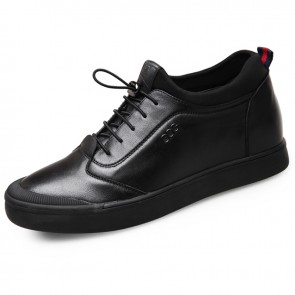 Comfy stitched leather height casual skate shoes 2.4inch / 6cm Black