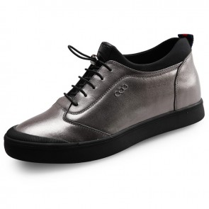 Comfy stitched leather elevated casual skate shoes 2.4inch / 6cm Silver
