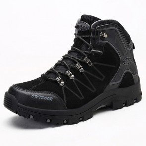 Elevator Hiking Shoes for Men Taller  3.2Inch / 8cm High Top Height Increasing Trekking Shoes Black
