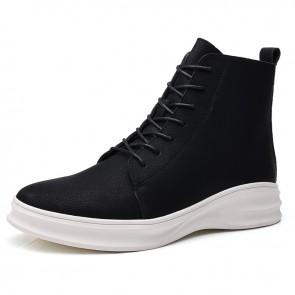 Men Hidden Taller Sneaker Boots Increase Height 2.8 inch / 7 cm Black-White Side Zip Leather Chukka Boot