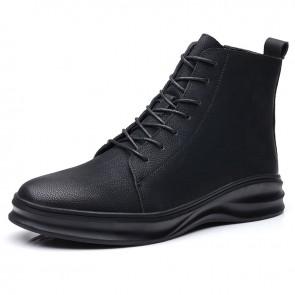Elevator Sneaker Boots for Men Add Taller 2.8 inch / 7 cm Black Side Zip Hidden Lift Leather Chukka Boot