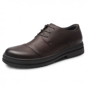 Brown Nubuck Leather Height Shoes for Men Increase 2.6inch / 6.5cm Cap Toe Elevator Casual Shoes
