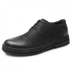 Black Nubuck Leather Taller Shoes for Men Height 2.6inch / 6.5cm Cap Toe Elevator Casual Shoes