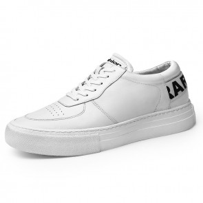 Versatile Height Trainers for Men Add Taller 2.4inch / 6cm White Cowhide Hidden Heel Platform Skate Shoes