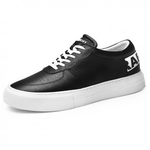 Versatile Elevator Trainers for Men Increase 2.4inch / 6cm Black Cowhide Hidden Heel Platform Skate Shoes