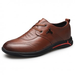 Brown Soft Leather Hidden Taller Shoes for Men Increase 2.4inch / 6cm British Trendy Elevator Casual Shoes
