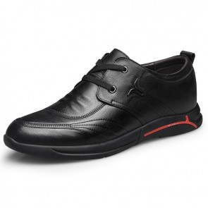 Black Soft Leather Hidden Lift Shoes for Men Taller 2.4inch / 6cm British Trendy Elevator Casual Shoes