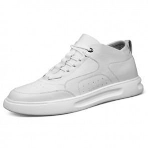 White Elevator Men Platform Skate Shoes Make Taller 2.6inch / 6.5cm Premium Calfskin Casual Shoes