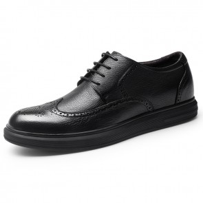 Black Wing Tip Elevator Dressy Shoes for Men Increase 2.4inch / 6cm Comfortable Business Brogue Shoes