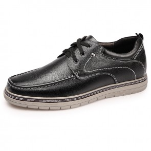 Black Simple Elevator Casual Shoes for Men Taller 2.4inch / 6cm Genuine Leather Business Shoes