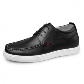 Black Premium Hidden Lift Skate Shoes for Men Heighten 2.4inch / 6cm Calf Leather Walking Shoes