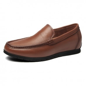 Yellowish-Brown Comfortable Elevator Loafers Soft Cowhide Slip On Driving Shoes Height 2.2inch / 5.5cm