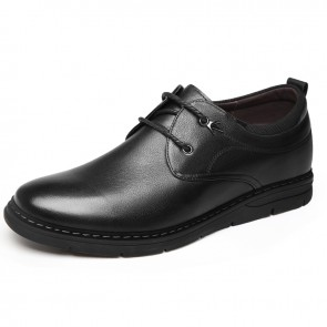 Black Soft Cowhide Hidden Height Shoes Make Men Taller 2.4inch / 6cm Lace Up Casual Business Shoes