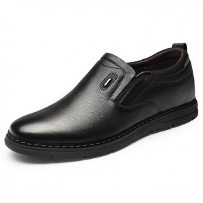 Comfortable Hidden Lift Loafers for Men That Give Taller 2.4inch / 6cm Soft Slip On Leather Casual Shoes