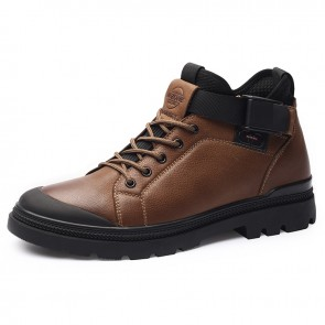 Khaki Steel Toe Height Shoes for Men increase 2.8inch / 7cm High Top Strap Soft Leather Casual Shoes