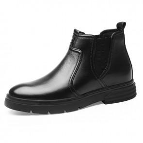 Hidden Lift Chelsea Boots for Men Add Height 2.6inch / 6.5cm Slip On Elevator Ankle Boot Elastic Dress Boots