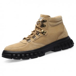 Khaki Height Elevator Hiking Shoes for Men Increase 2.6inch / 6.5cm  High Top Lift Trekking Walking Shoes