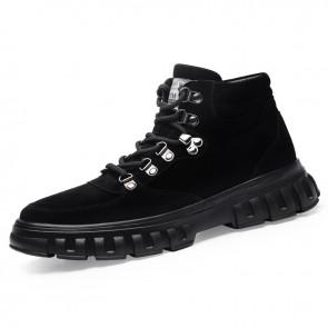Black Height Increasing Hiking Shoes for Men Gain Taller 2.6inch / 6.5cm High Top Trekking Walking Shoes