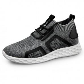 2019 Elevator Knit Sock Sneaker for Men Look Taller 2.4inch / 6cm Light Gray Hidden Lift Running Shoes