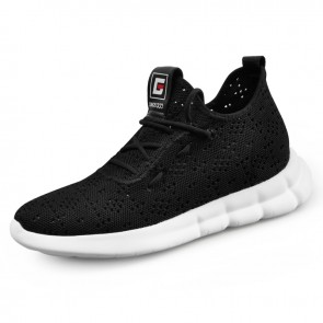 Utmost Comfortable Elevator Sneakers for Men Grow Tall 2.6inch / 6.5cm Hollow Out Height Flyknit Shoes