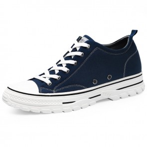 Daily Hidden Lift Low Top Canvas Shoes Add Taller 2.4 inch / 6 cm Blue Professional Skate Sneakers